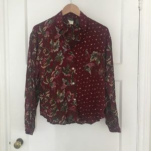 Tops - Mismatched floral print vintage button down blouse